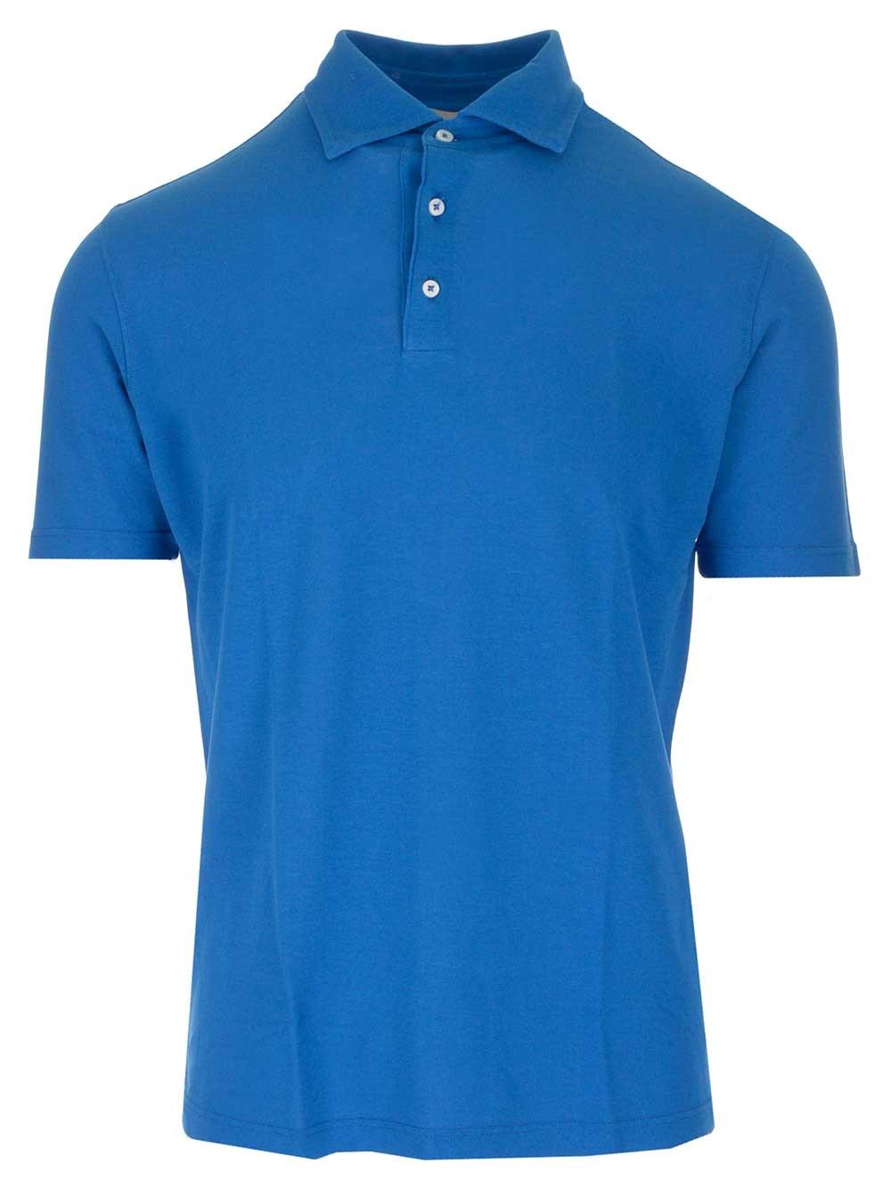 AL DUCA D'AOSTA Light Blue Polo Shirt In Cotton Crêpe