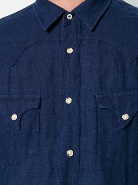 comprare on line 26ae6 9a361 al duca d'aosta 1902 camicia texana blu in misto lino su ...