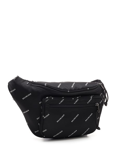 Balenciaga Black bum bag with logo for
