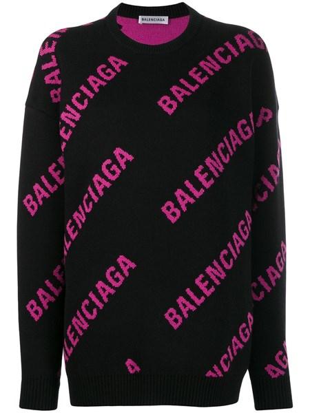 graffiare punto Atletico  Balenciaga Donna Maglione oversize nero con logo fucsia all over | Al Duca  d'Aosta