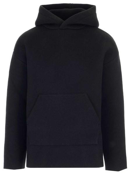 cheap for discount 3d8e4 923f6 Felpa nera in cashmere con cappuccio