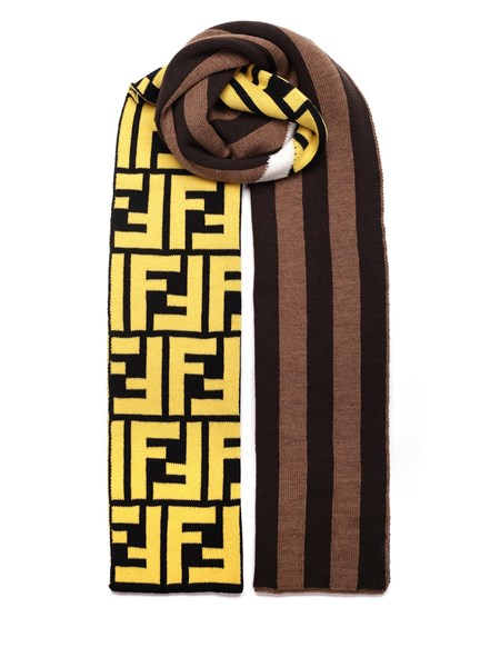 Fendi Accessories Brown scarf with yellow FF logo