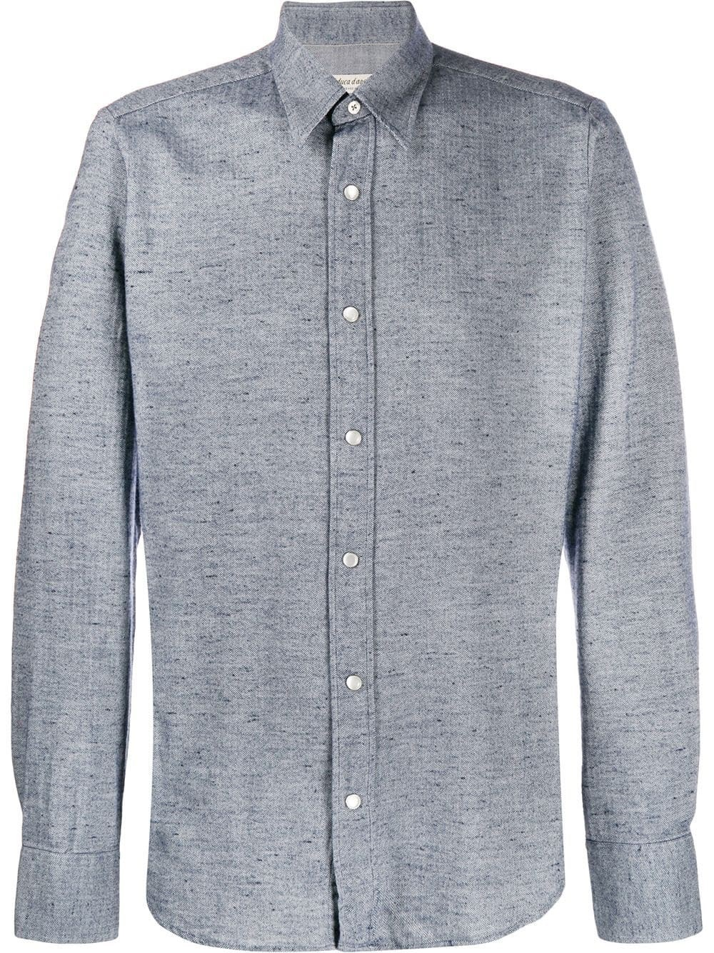AL DUCA D'AOSTA 1902 Fishbone Pattern Casual Shirt