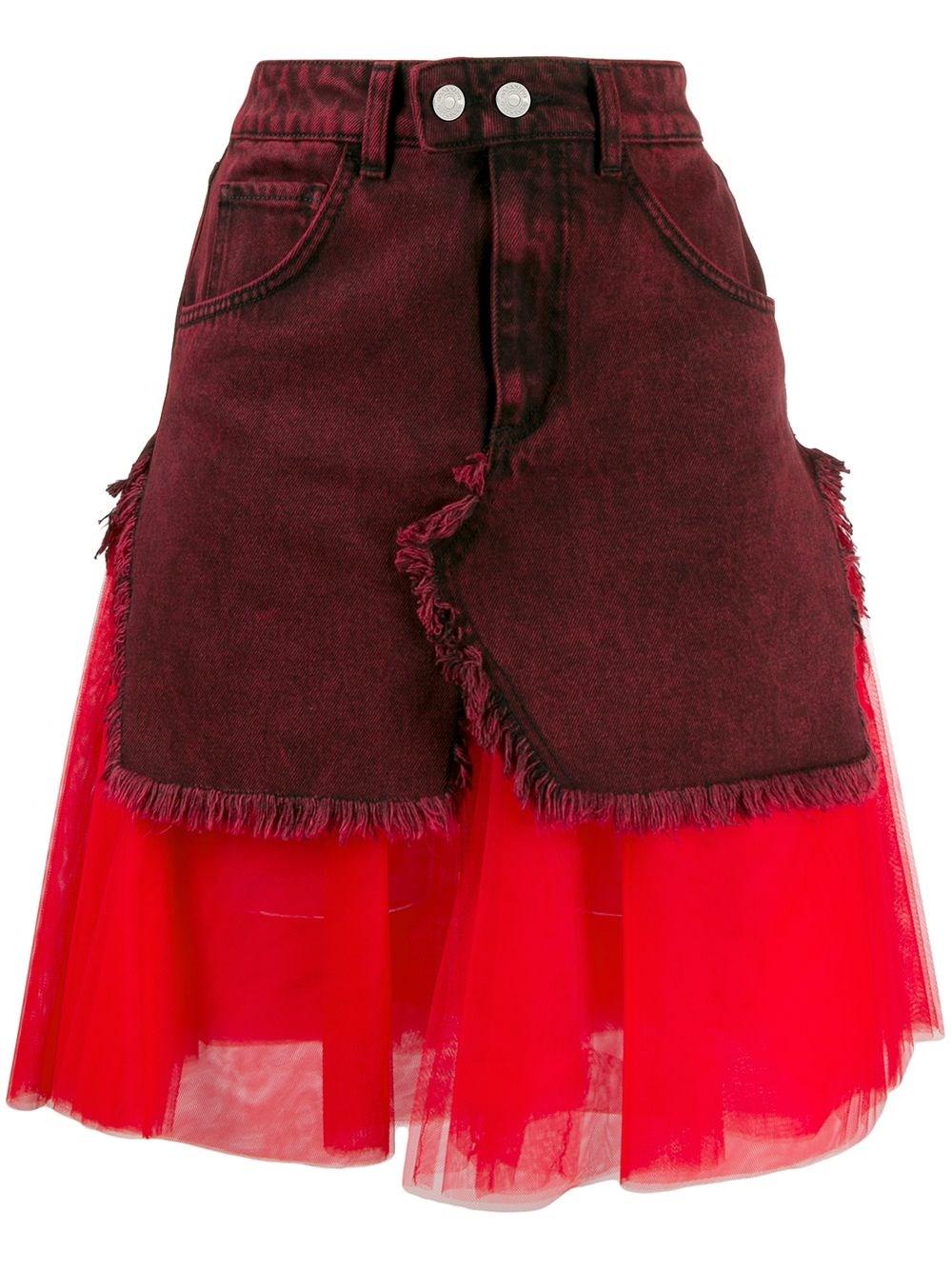 BROGNANO Layered Fabric Mix Skirt