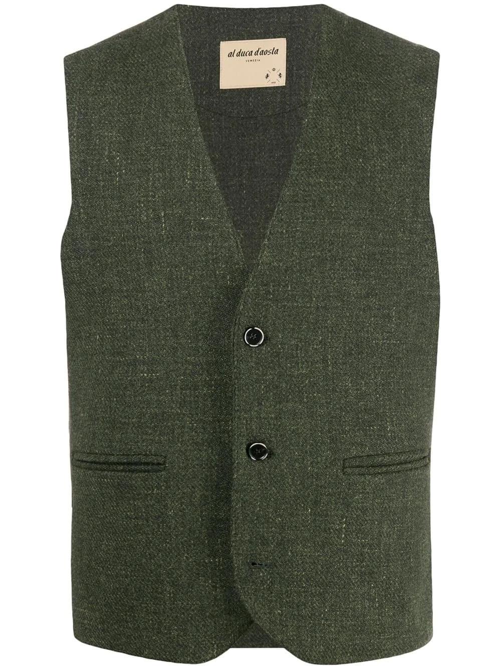 AL DUCA D'AOSTA 1902 Green Wool Tweed Gilet