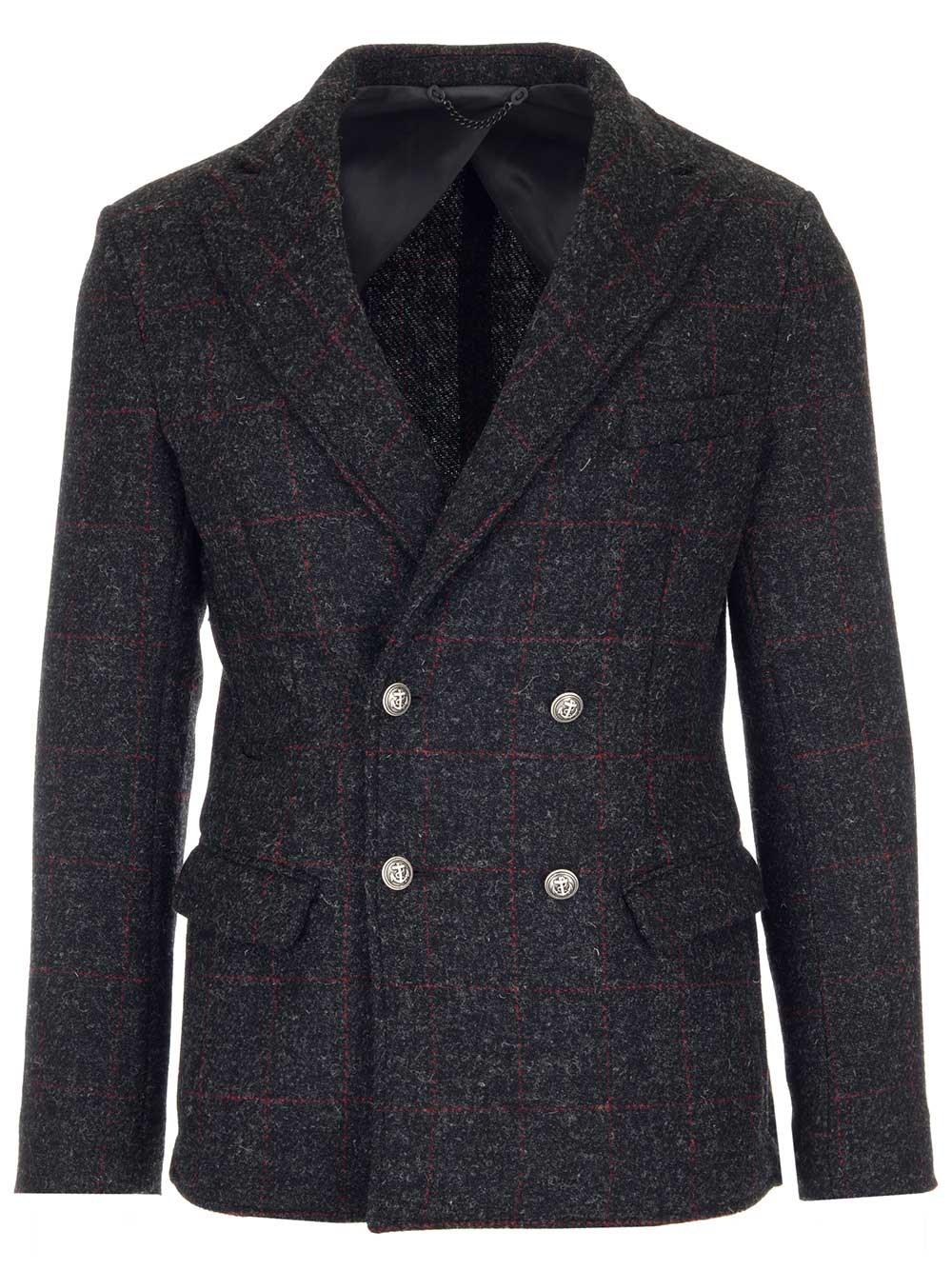 AL DUCA D'AOSTA 1902 Grey Tweed Double Breasted Blazer.