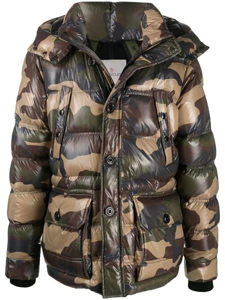 MONCLER BAHON MENS Jacket Down Black Size 4 Large Camo