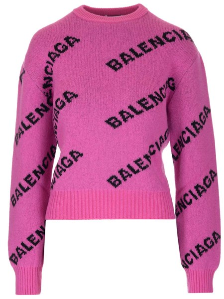 Balenciaga Sweaters All over logo regular fit sweater