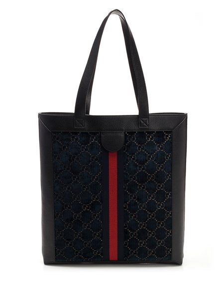 Large tote bag in blue leather and velvet