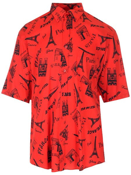 "Balenciaga Tops ""Tourist"" print shirt with square shoulders"