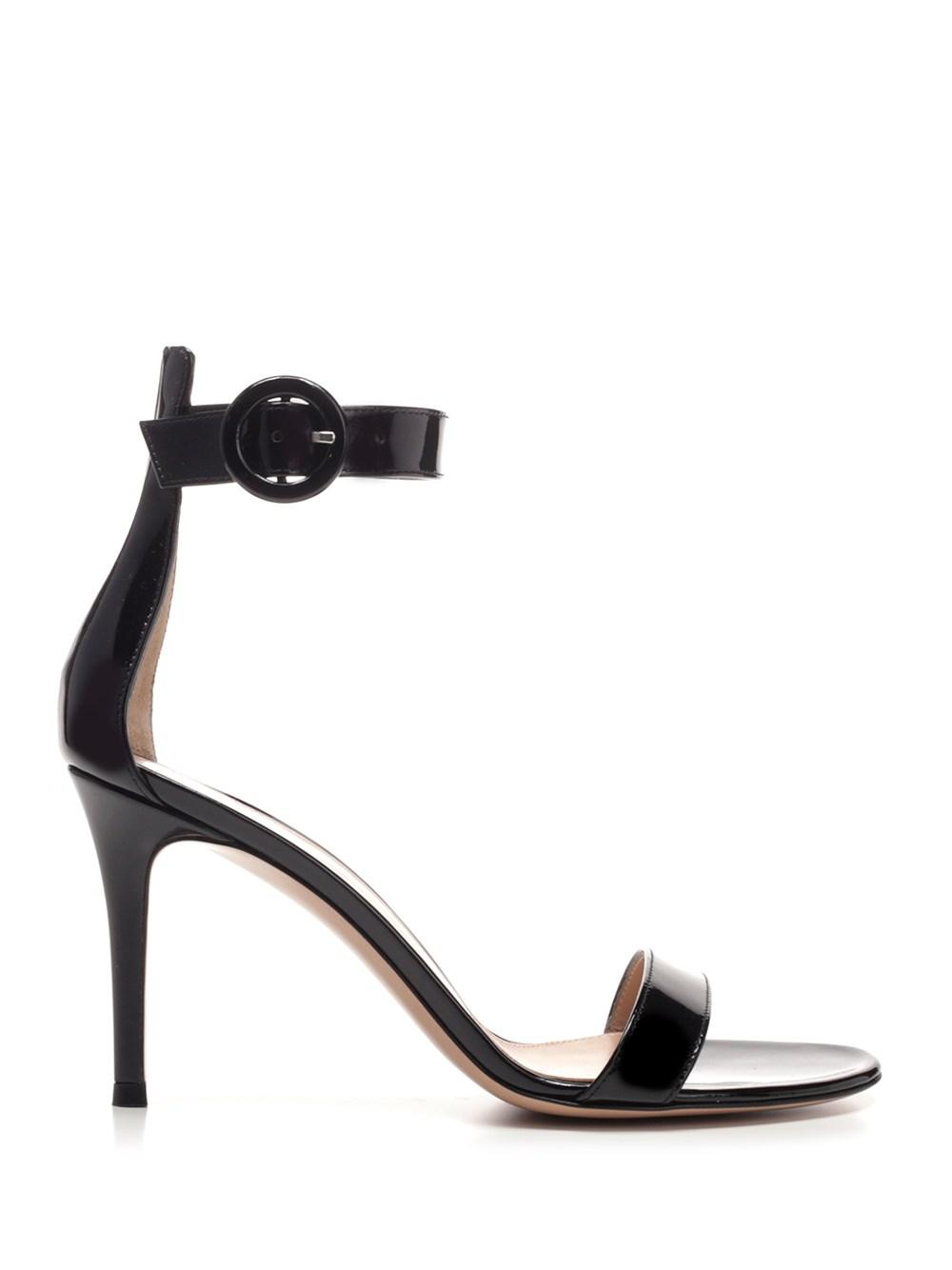 """GIANVITO ROSSI """"Portofino"""" Patent Black Sandals"""