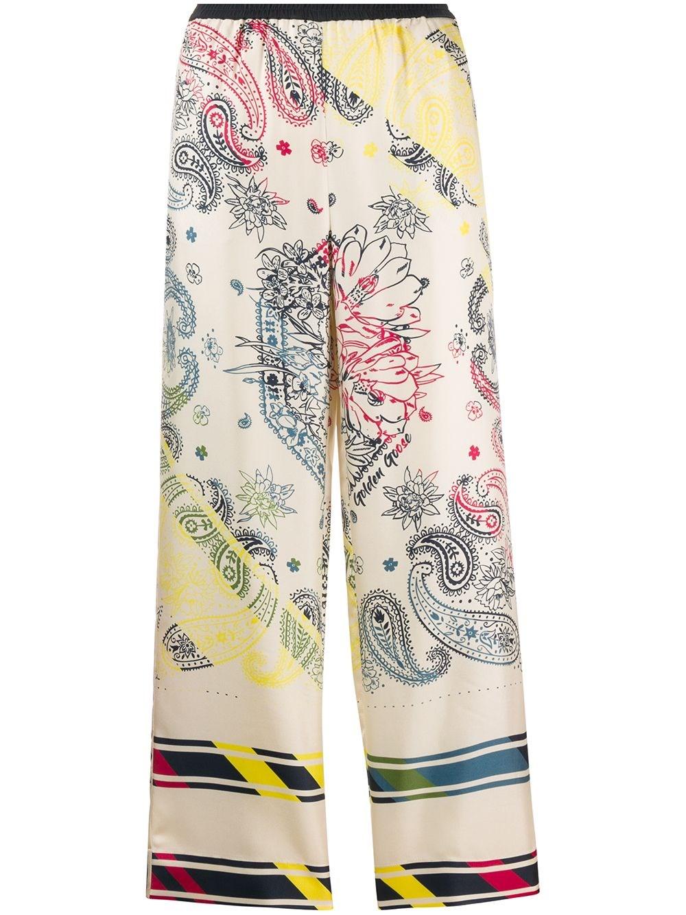 GOLDEN GOOSE DELUXE BRAND Bandana Print Silk Trousers