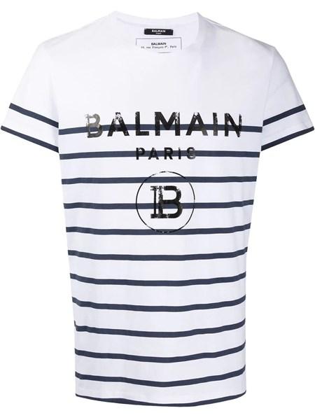 Balmain Tops Striped cotton T-shirt