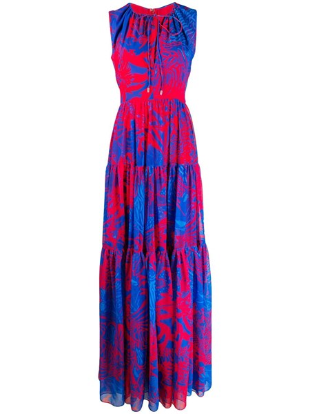 Halpern flower print georgette maxi dress