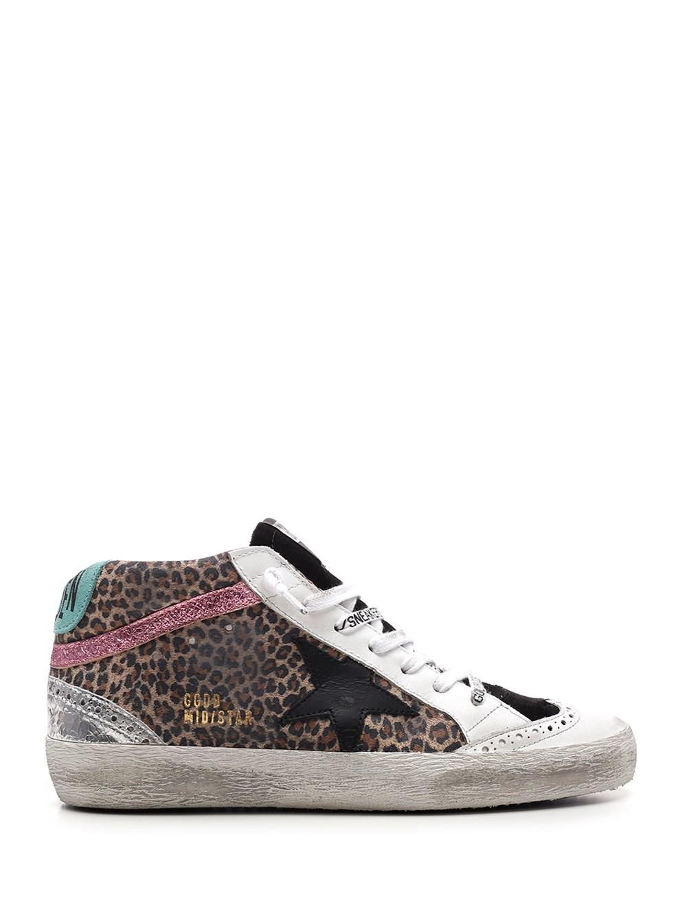 """GOLDEN GOOSE DELUXE BRAND Leopard Suede """"Mid Star"""" Sneakers"""