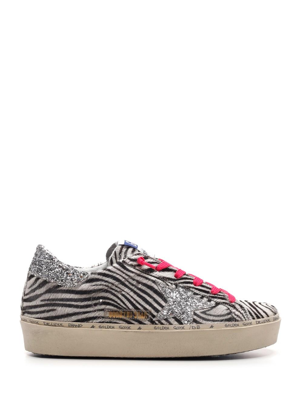 """GOLDEN GOOSE DELUXE BRAND """"Hi Star"""" Zebra Calf Hair Sneakers"""