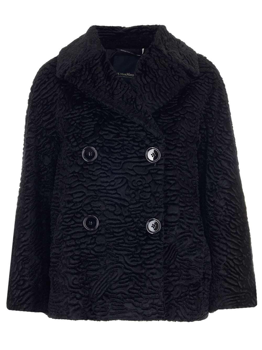 'S MAX MARA Faux Fur Short Peacoat