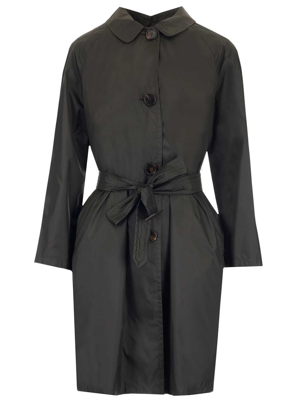 'S MAX MARA Dark Green Gabardine Trench Coat