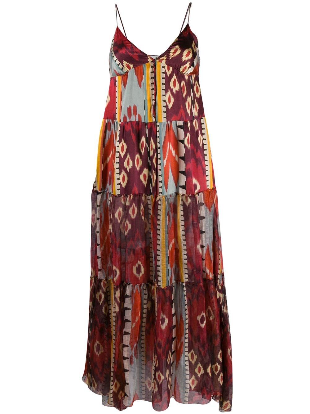 FORTE_FORTE Geometric Print Silk Dress