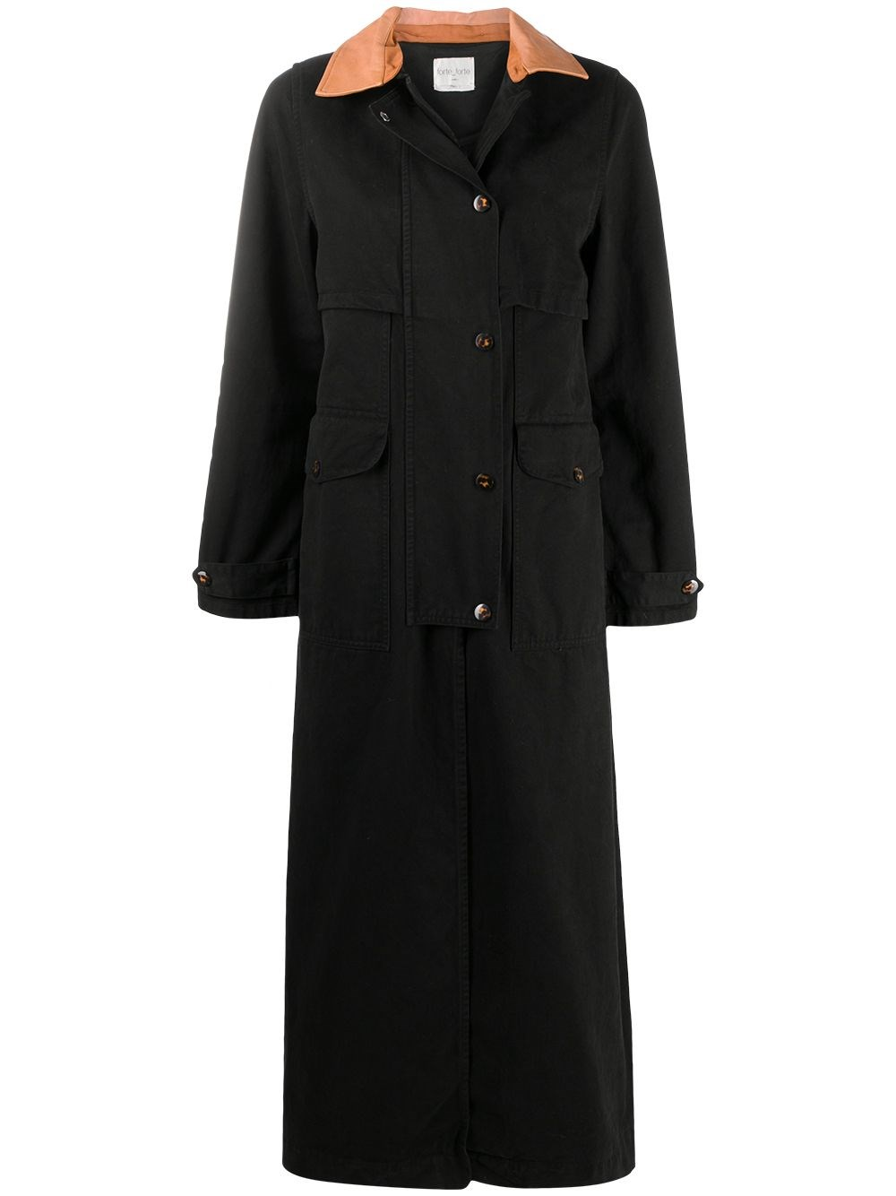 FORTE_FORTE Contrast Collar Trench Coat