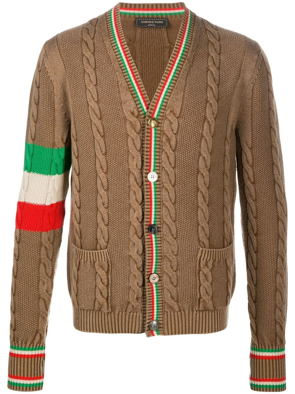 GABRIELE PASINI Stripe-Detail Cable-Knit Cardigan