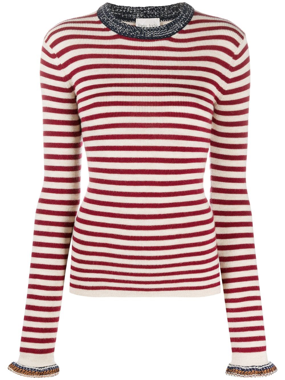 FORTE_FORTE Long Sleeve Striped Knitted Top