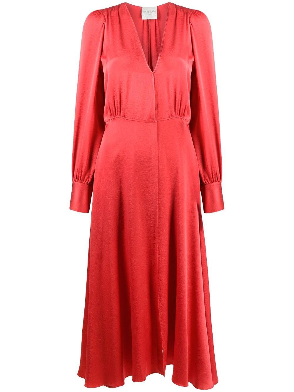 FORTE_FORTE V-Neck Gathered Silk Dress