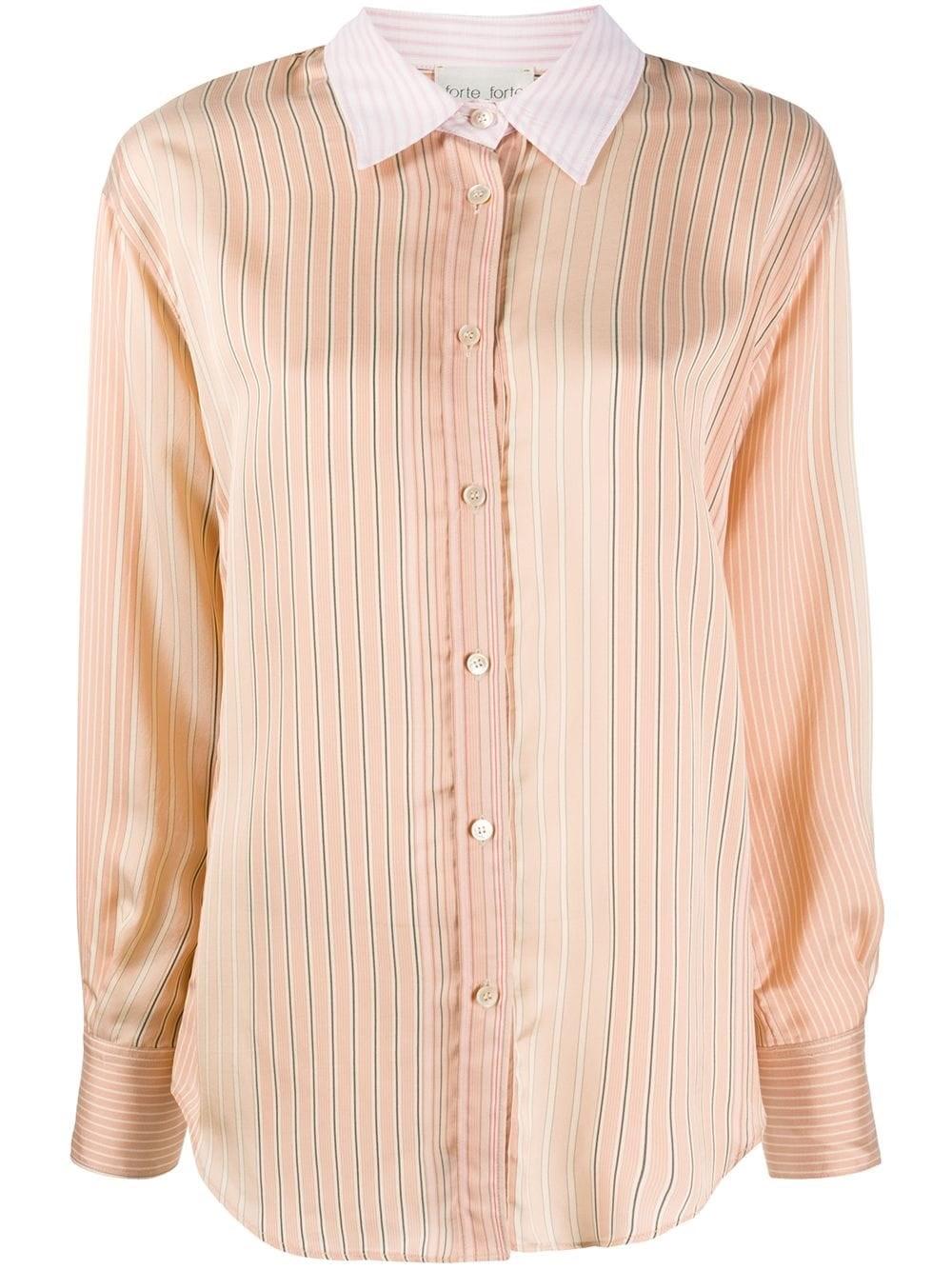 FORTE_FORTE Striped Contrasting Collar Shirt