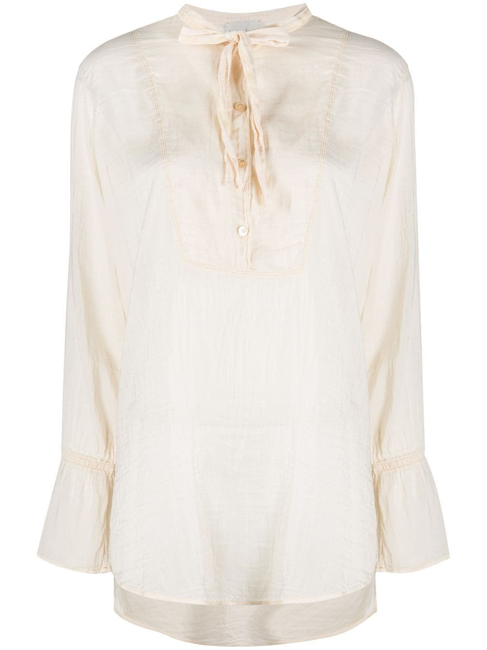 FORTE_FORTE Neck Tie Loose-Fit Blouse