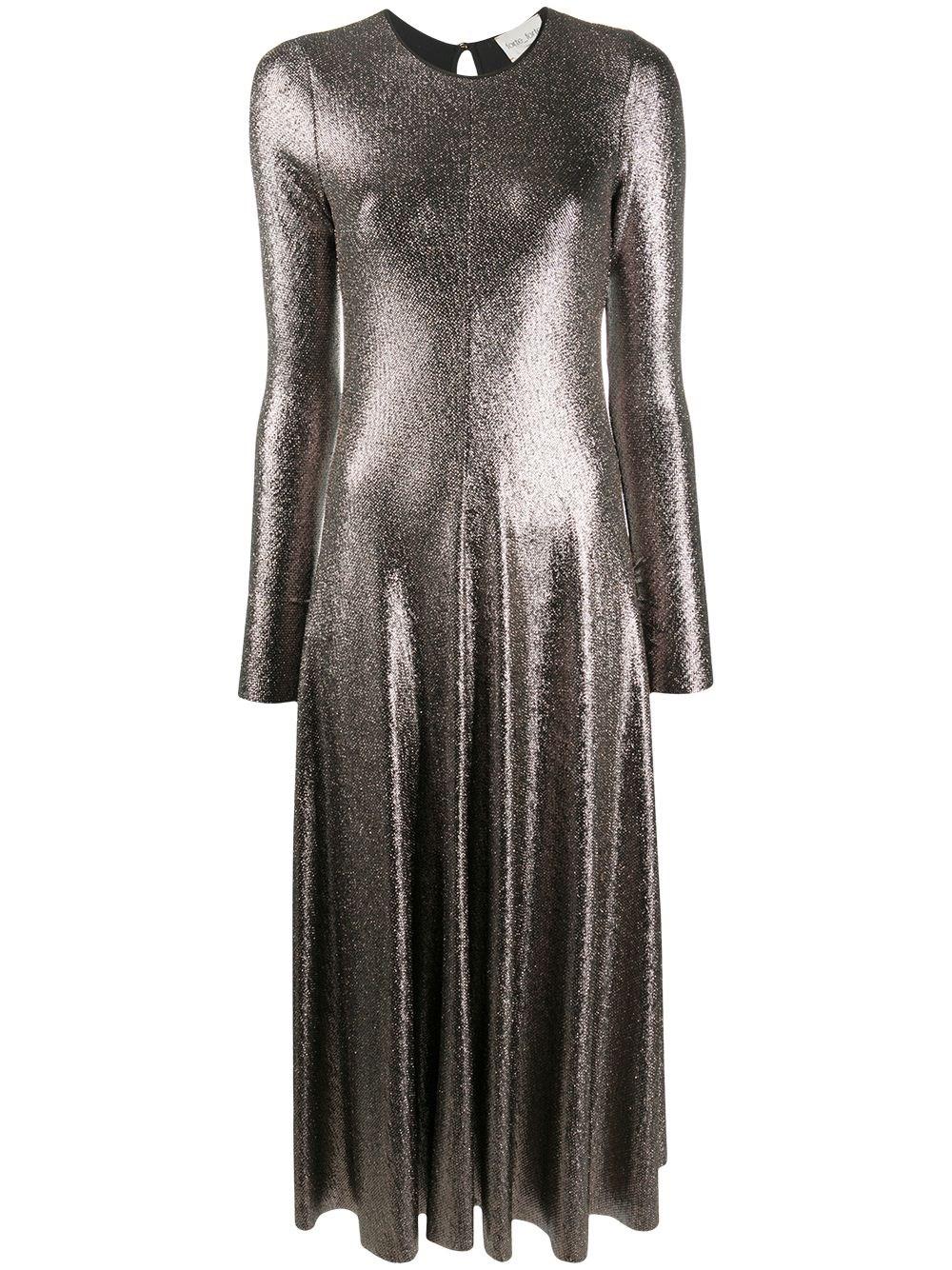 FORTE_FORTE Flared Lamé Midi Dress
