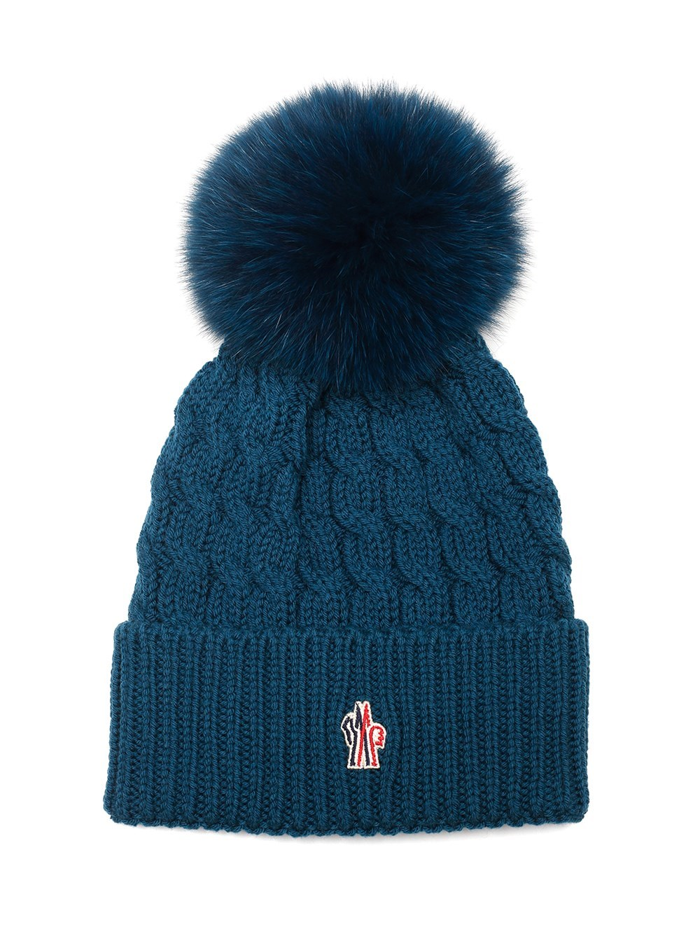 MONCLER GRENOBLE Blue Hat With Pon Pon
