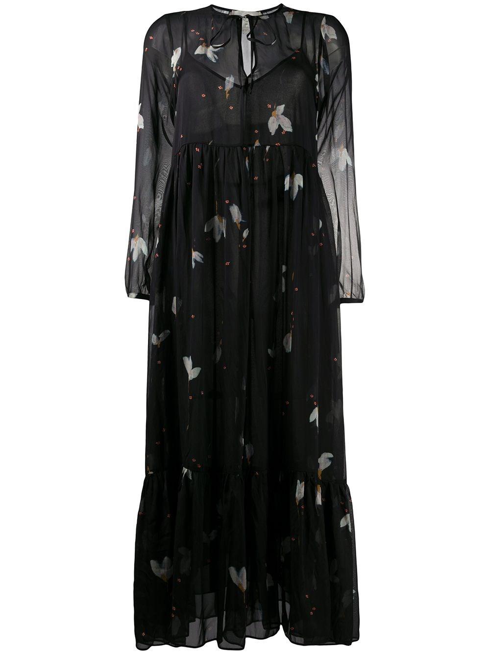 FORTE_FORTE Floral-Print Silk Dress