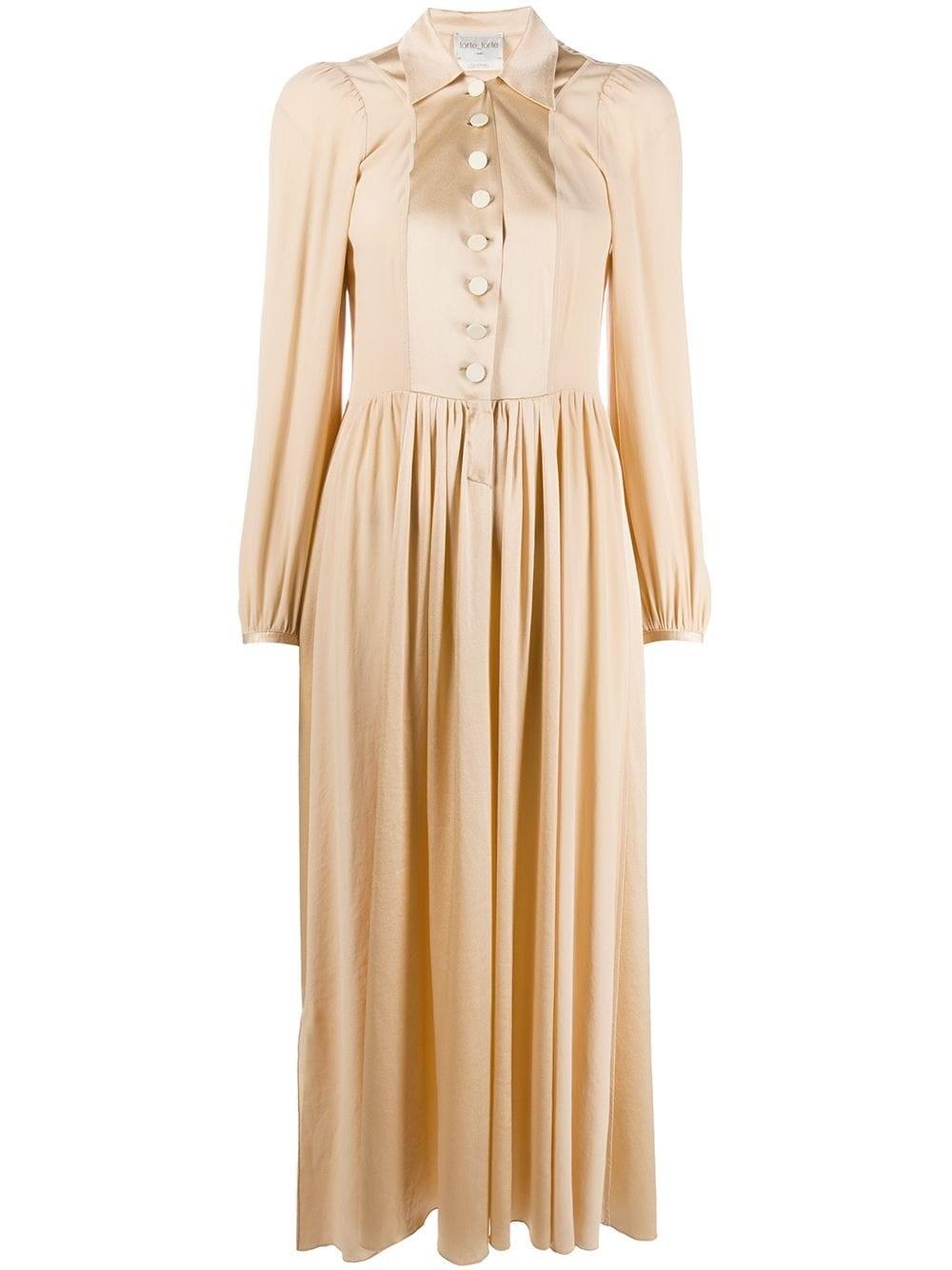 FORTE_FORTE Pointed Collar Midi Dress