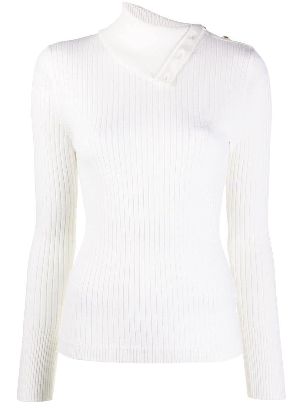 BARENA VENEZIA Foldover Collar Ribbed-Knit Top
