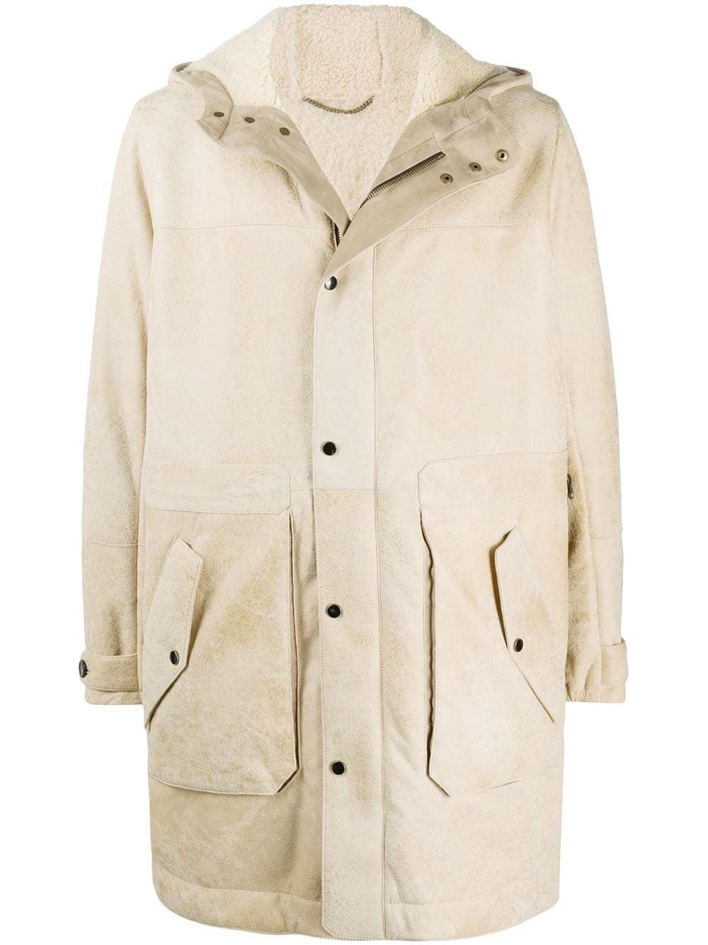 AJMONE Long-Sleeve Hooded Shearling Coat
