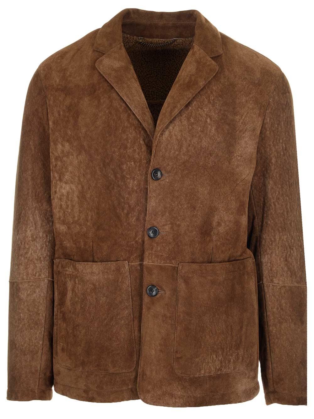 AJMONE Brown Suede Jacket