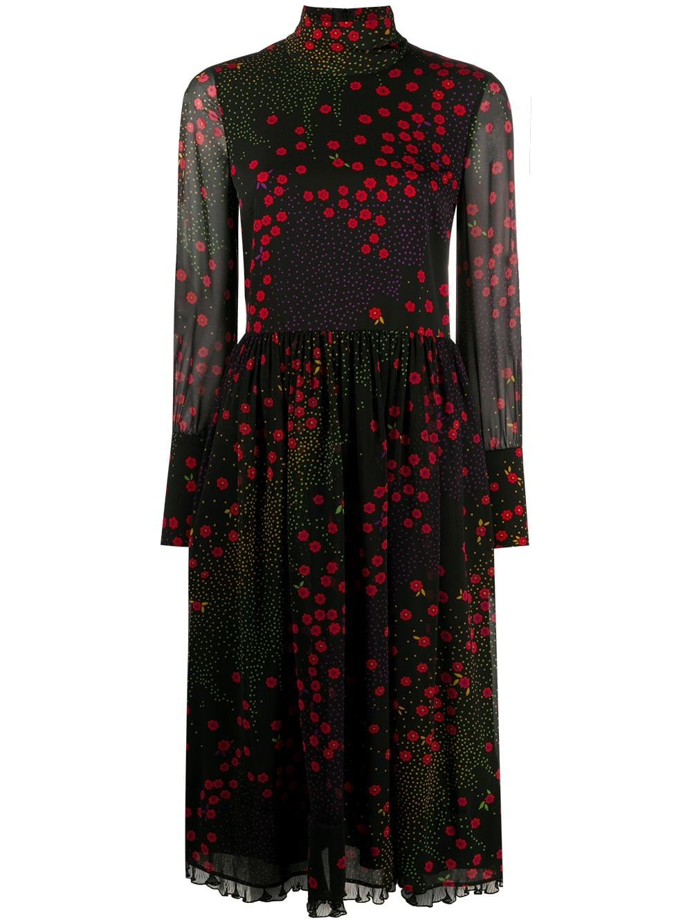 REDVALENTINO Loral-Print Mid-Length Dress