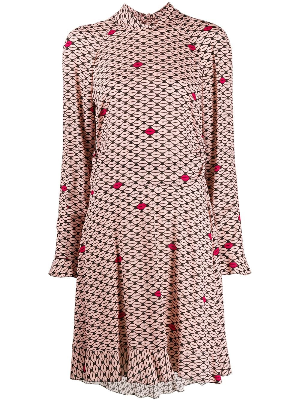 REDVALENTINO Mouth Print Georgette Dress