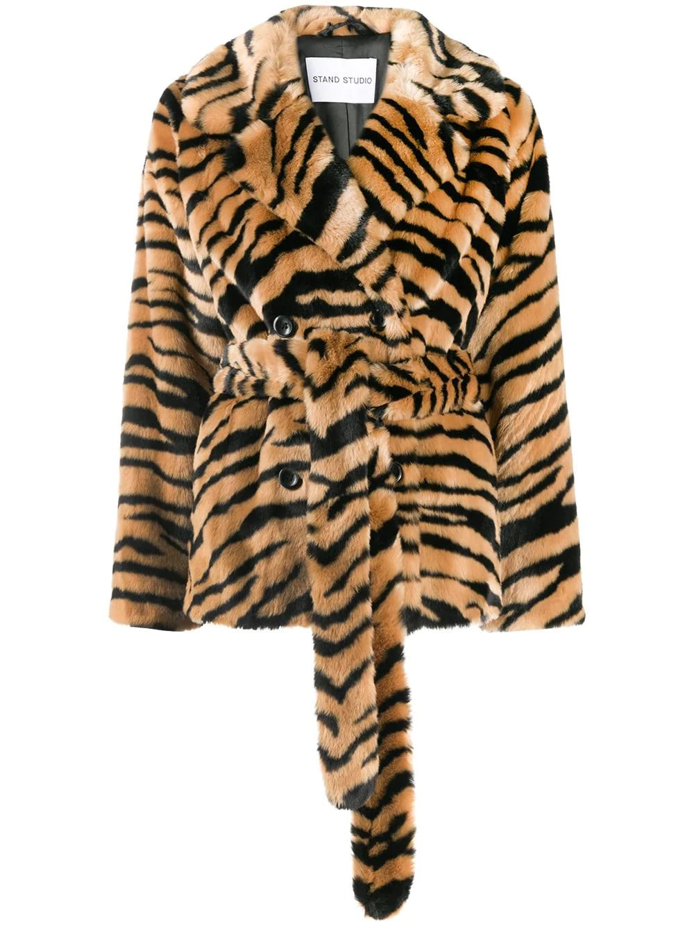 STAND STUDIO Faux Fur Belted Coat