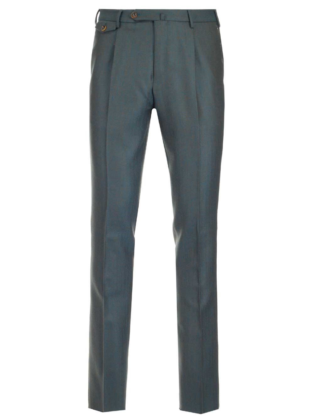 PT TORINO Green Wool Trousers With Pinces