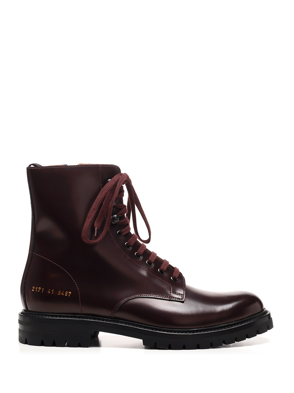 COMMON PROJECTS Burgundy Leather Combat Boots