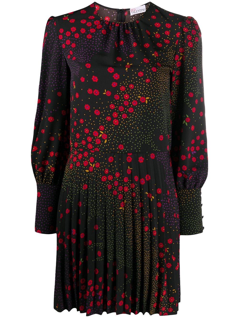 REDVALENTINO Printed Crepe De Chine Mini Dress