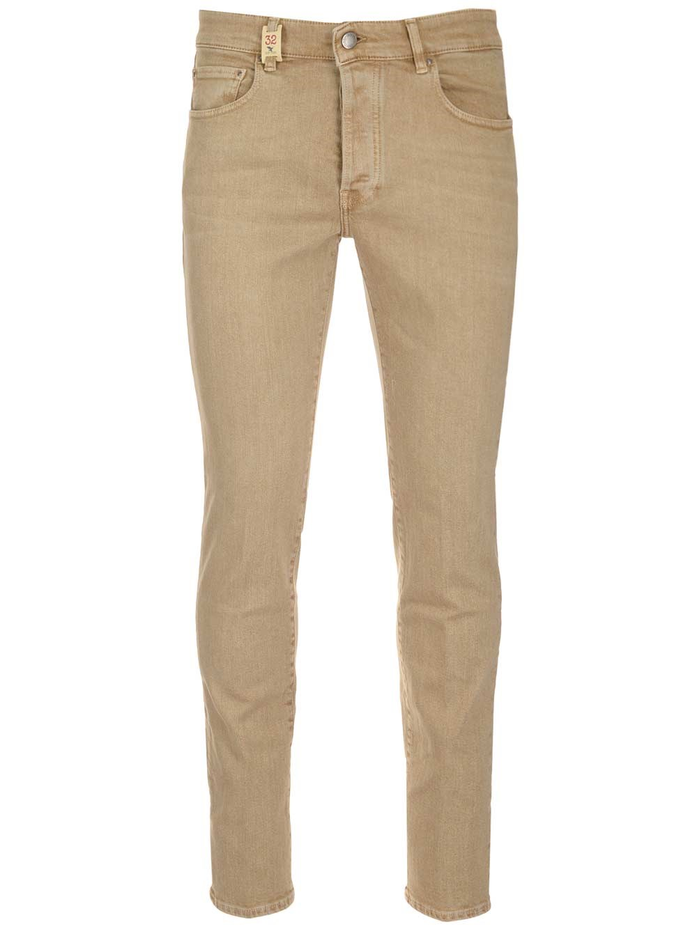 BARMAS Beige Cotton Slim Fit Jeans