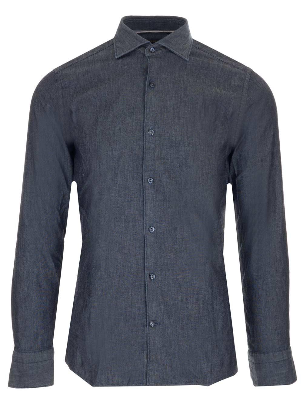 AL DUCA D'AOSTA 1902 Dark Blue Chambray Shirt