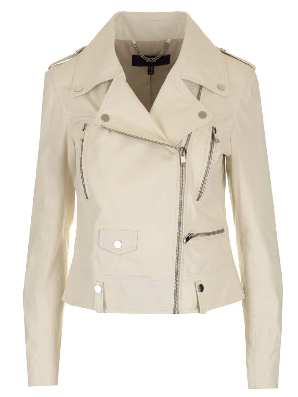 ARMA White Leather Biker Jacket