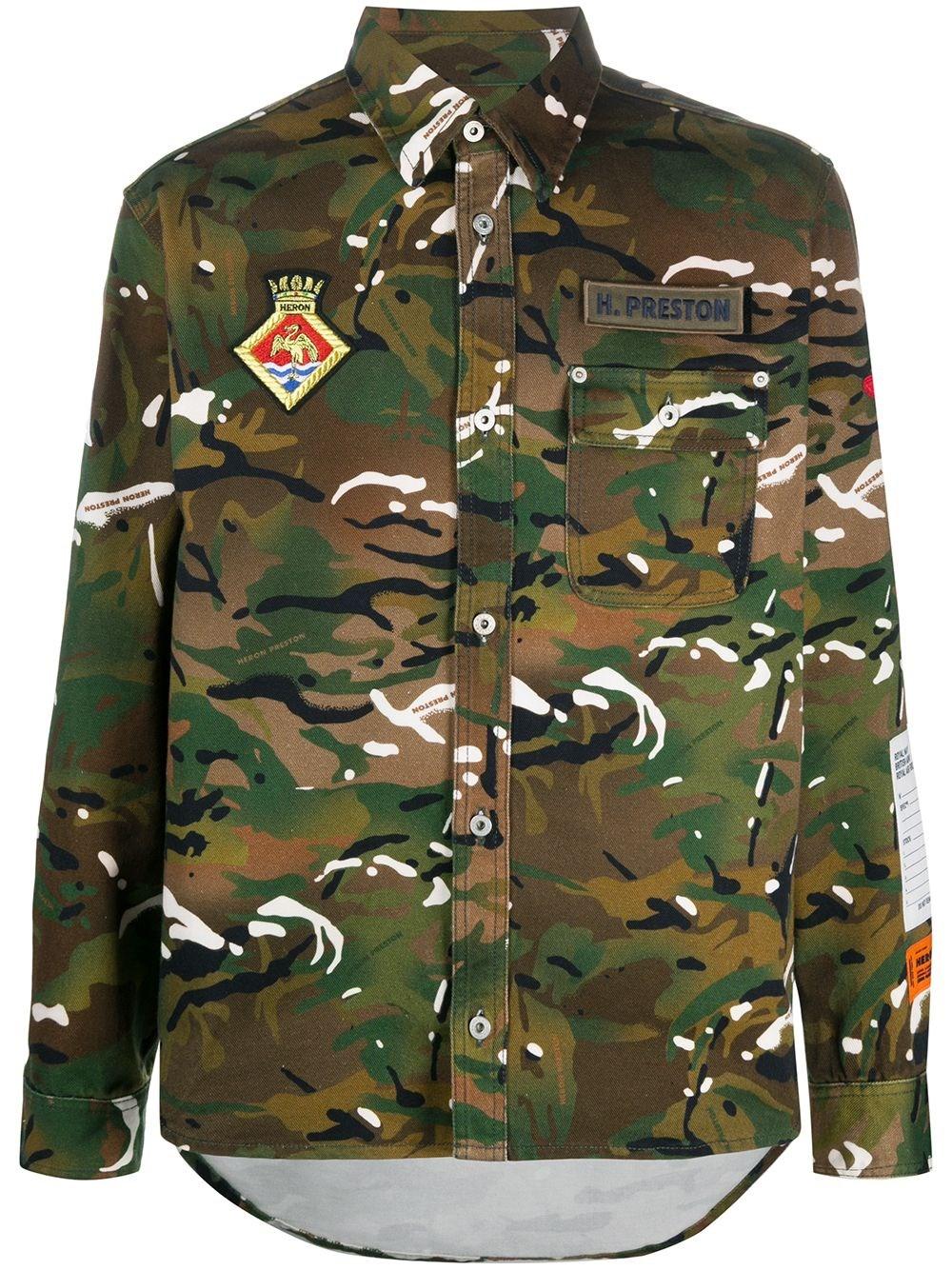 HERON PRESTON Camouflage Cotton Overshirt