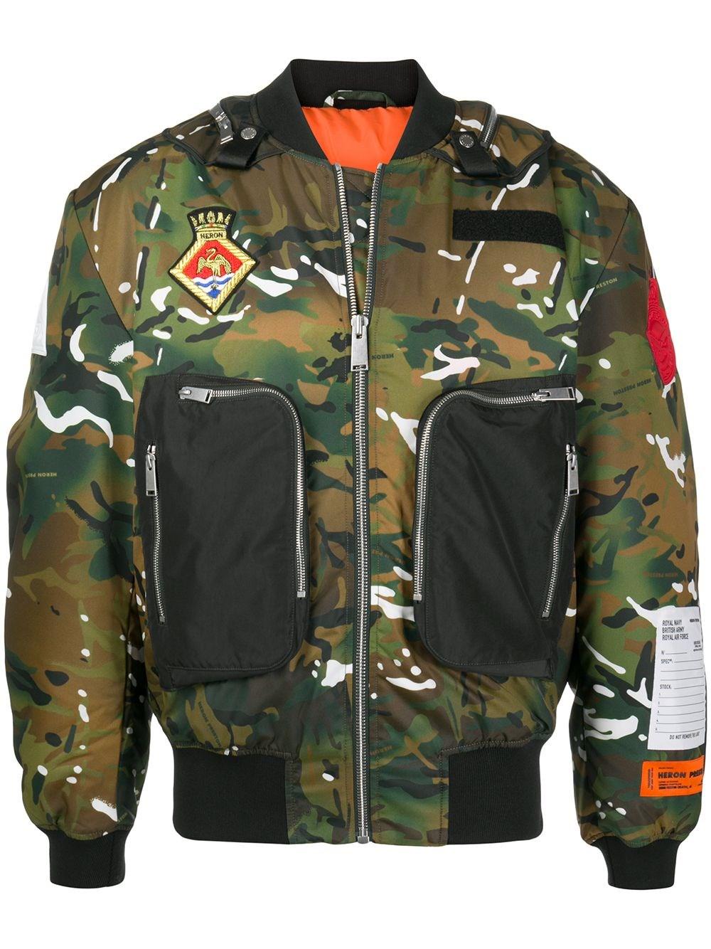 HERON PRESTON Camouflage Print Bomber Jacket