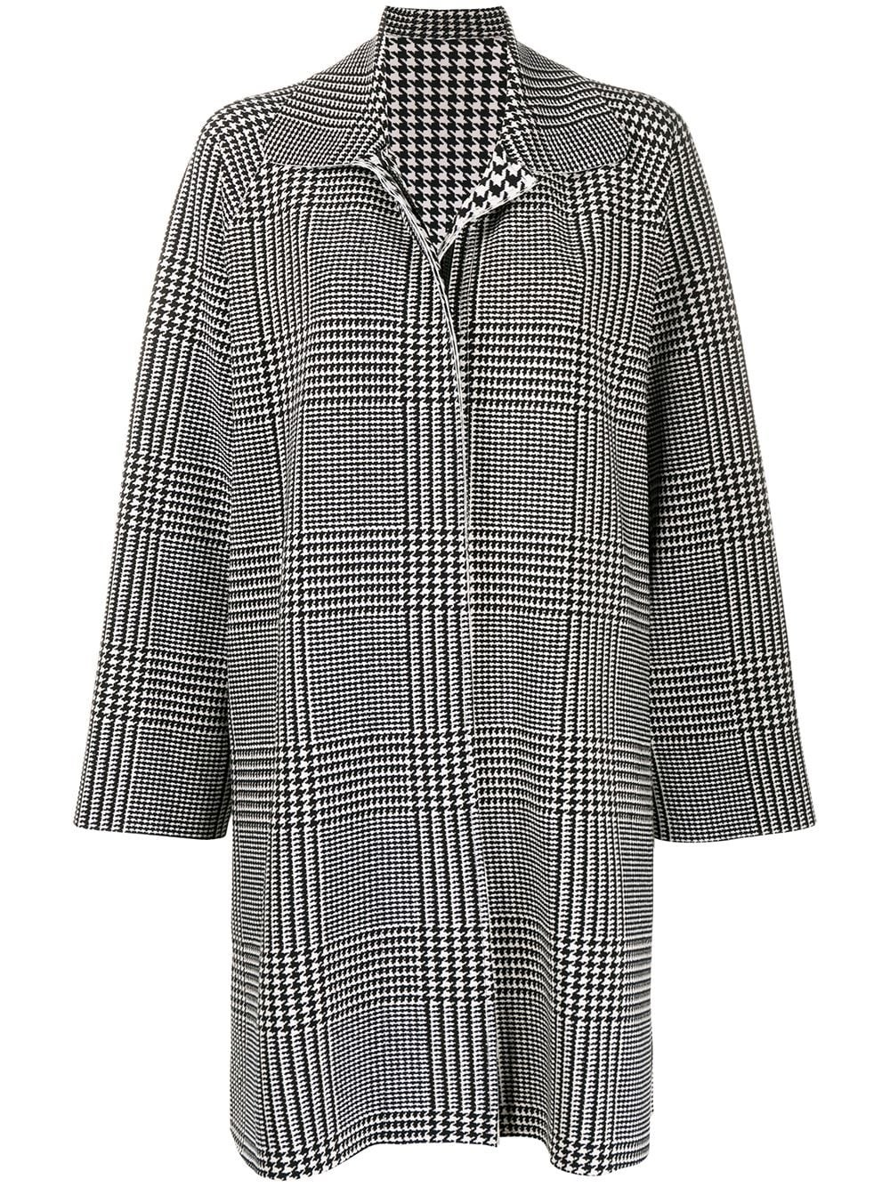 NORMA KAMALI Houndstooth Draped Coat