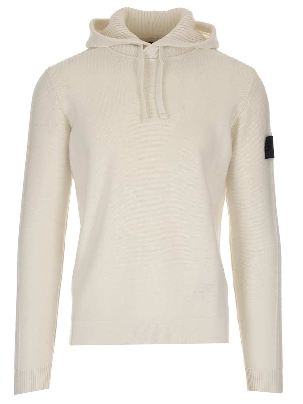 STONE ISLAND SHADOW White Wool Hoodie