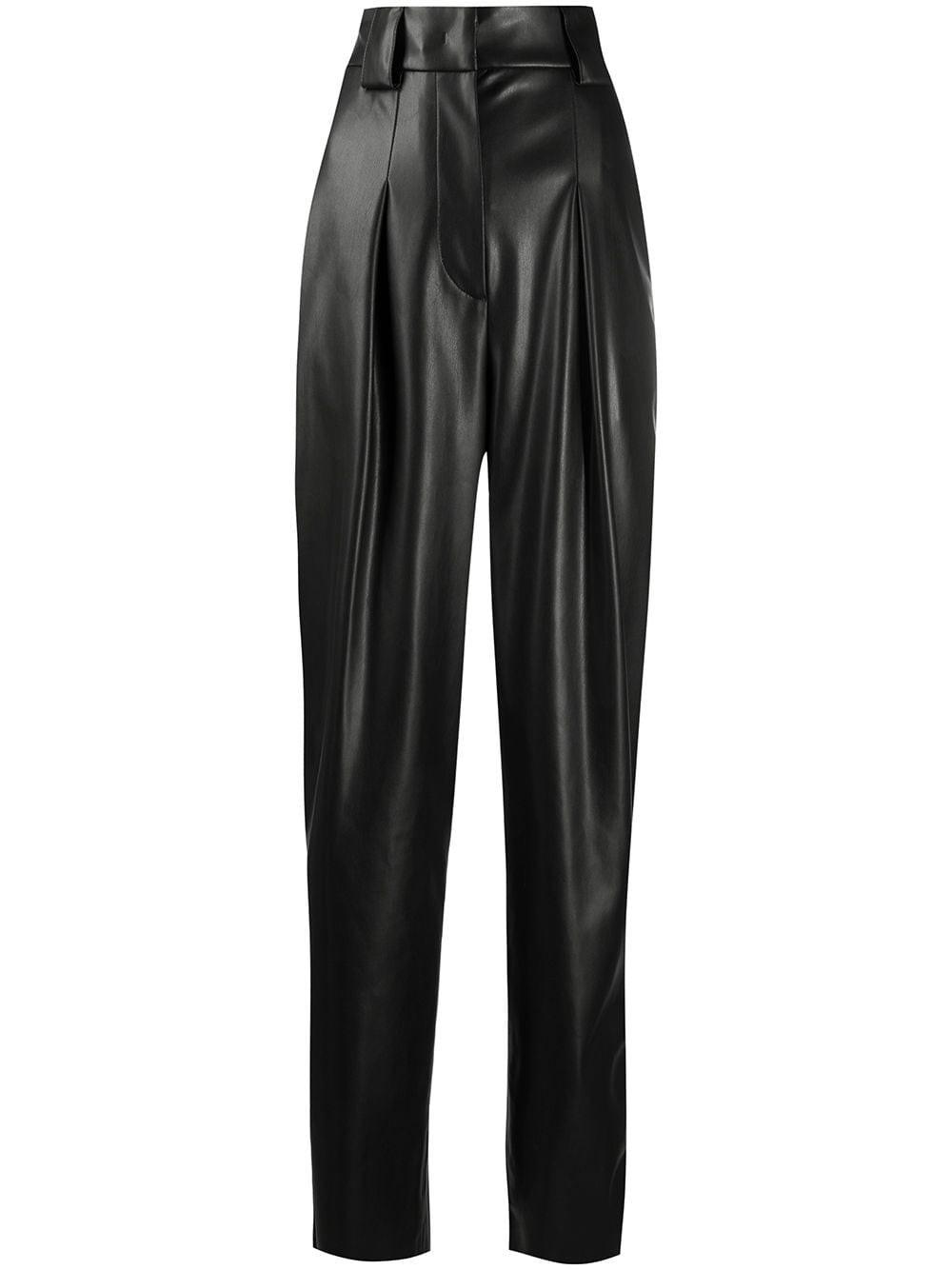 BROGNANO Faux Leather Straight-Leg Trousers